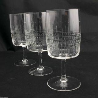 3 Kristall Weingläser Dünnwandig Feiner Streifen Olivenschliff Vintage Design Bild