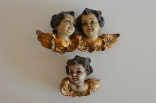 2 Engel Putten Holz Handgeschnitzt Und Handbemalt,  Alt,  Meran Bild