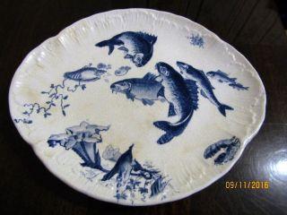 Villeroy & Boch Dekor Delphin 2 Fischteller Mettlach Um 1900 Bild