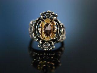 Trachtenschmuck Zur Wiesn Grosser Ring Silber Granat Garnet Vintage 1950 Tracht Bild