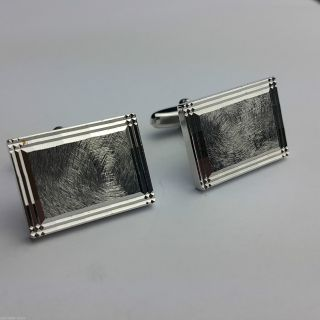 Kultige Vintage ManschettenknÖpfe Cufflinks Verchromt Diamantiert Top Design Bild