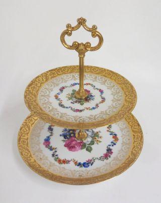 Prunkvolle Etagere Porcelain Limoges Mit Blumen U.  Gold Dekor Bild