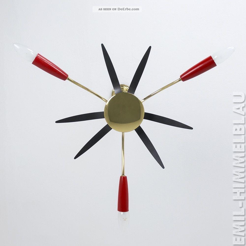 Sputnik 3 - Armig Decken Pendel Lampe 50er Rot Schwarz Spinne Rockabilly Vintage 1950-1959 Bild