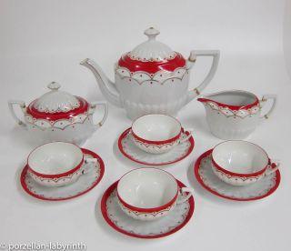 Teeservice 4 Pers.  Mathes & Ebel,  Mäbendorf Um 1920 Teekanne Teetasse Art Deco Bild