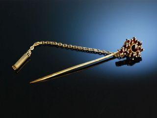 Klassische Revers Krawatten Nadel Tie Pin Granat Silber Vergoldet MÜnchen 1950 Bild