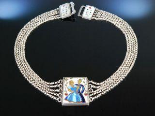 Historische Trachten Kette Silber Kropfkette Email Dekor Ca 1930 Silver Necklace Bild
