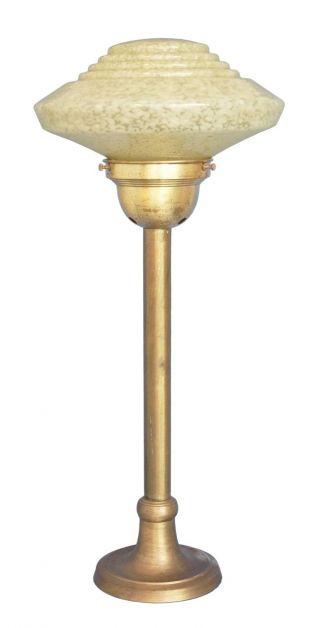 Edle Art Déco Schreibtischleuchte Lampe Messing Opalglas 1930 Bild