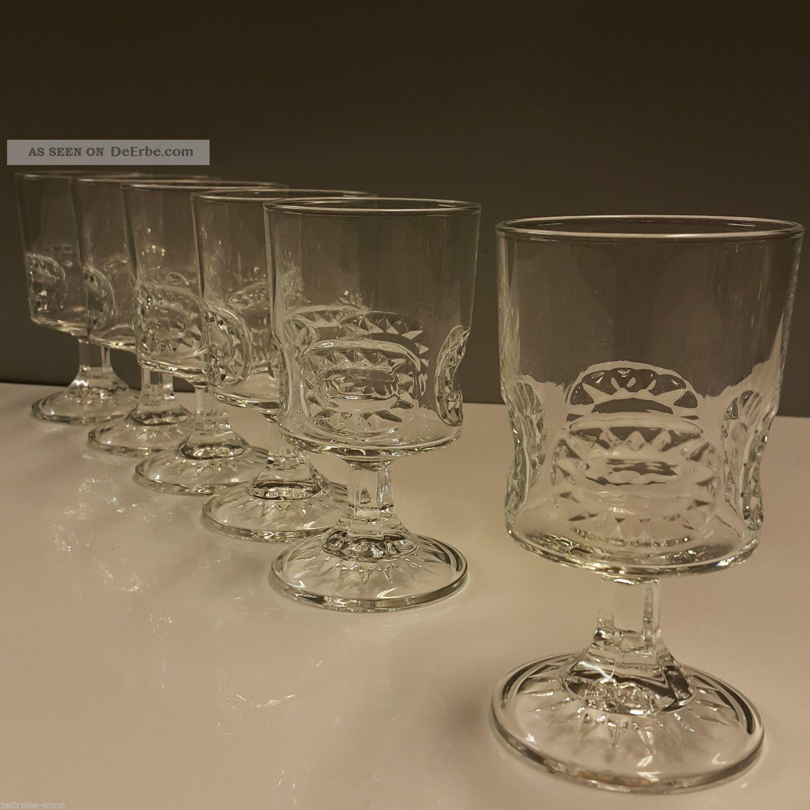 6 Weingläser Aperitifgläser Made In France Seltenes Vintage Design 11,  5cm H Kristall Bild