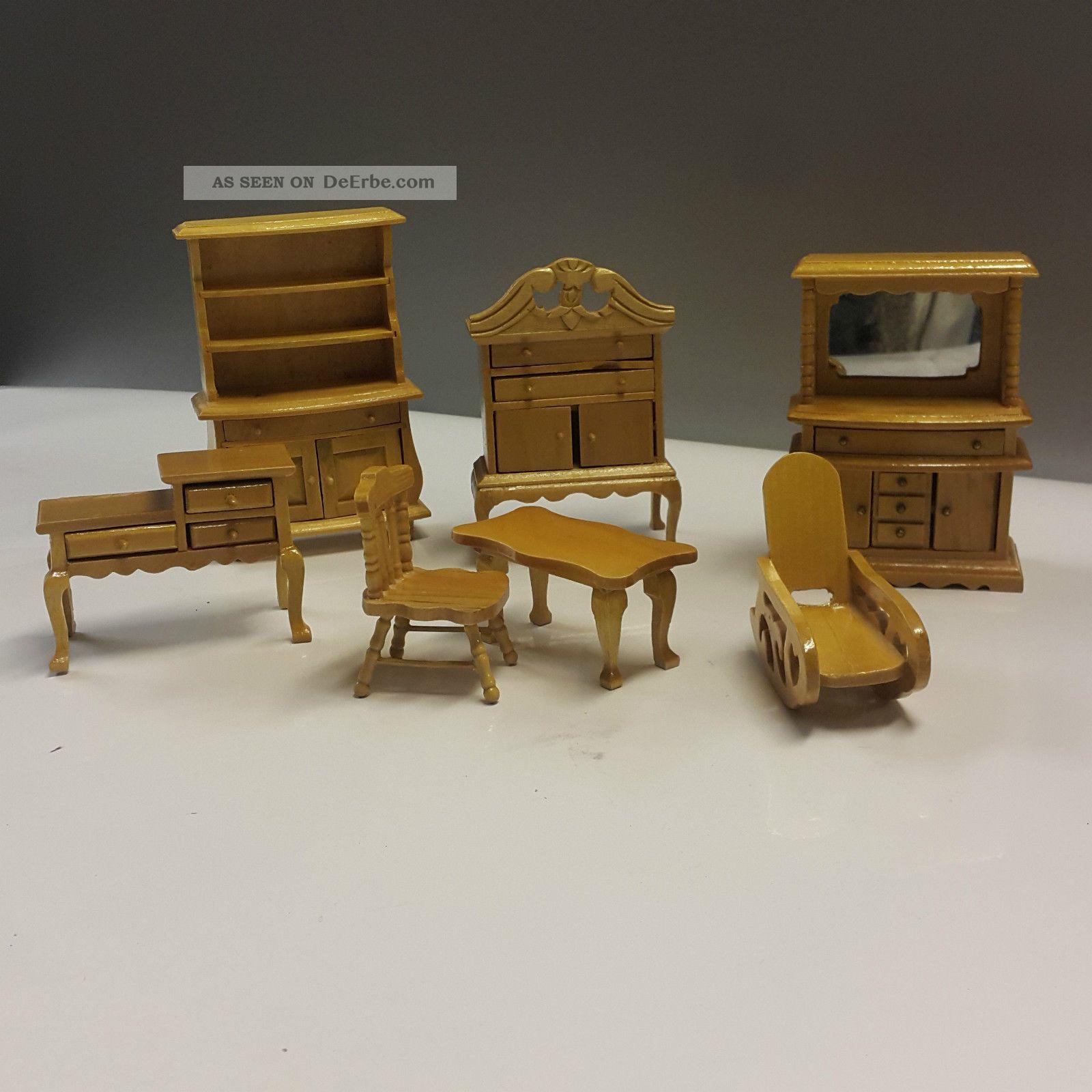 Puppenstuben Stilmöbel Möbel Wohnzimmer Esszimmer Vitrine Telefonschrank Buffet Original, gefertigt vor 1970 Bild