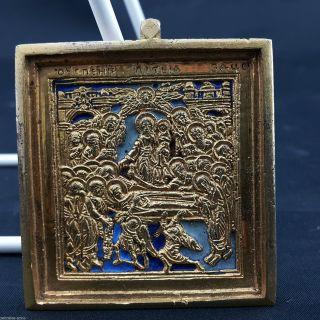 Ikone Reiseikone Russland Bronze Emaille 18.  /19.  Jh.  Entschlafung D Gottesmutter Bild
