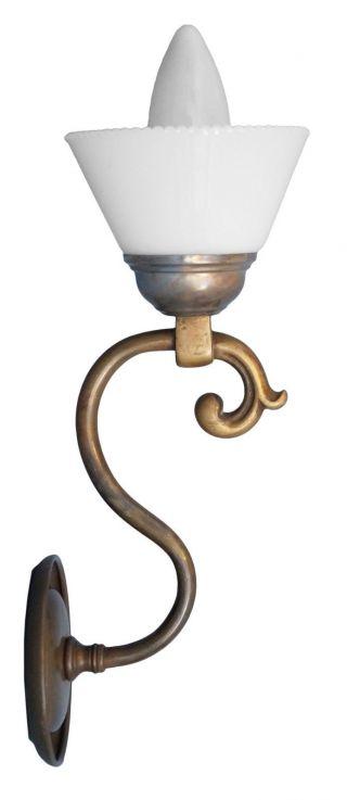 Zierliche Jugendstil Wandleuchte Wandlampe Messing Shabby Chic Opalglas Bild