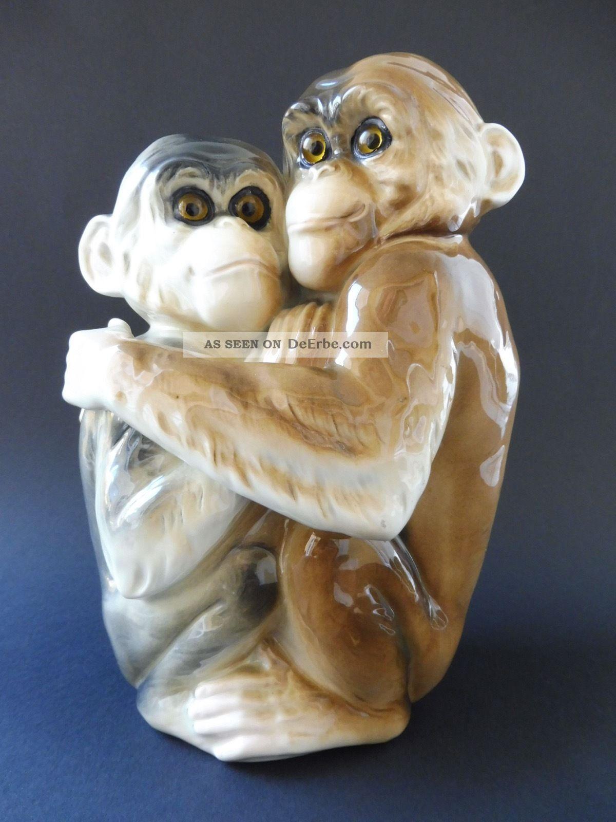 :: Rar Art Deco Affe Ape Porzellan Neapel Lampe Lamp Chimp Schimpanse Porcelain 1920-1949, Art Déco Bild