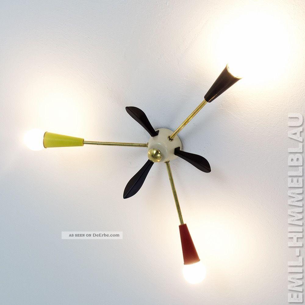 Sputnik 3 - Armig Decken Pendel Lampe 50er Bunt Spinne Rockabilly Vintage Bakelit 1950-1959 Bild