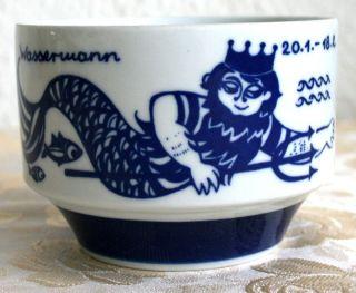 Dishwasher Safe Made In Gdr Kahla Porzellan Becher Dose Wassermann - Fische Rar Bild