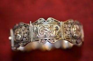 Schönes Silber 900 Damenarmband Mit Asiatischen Motiven Bild