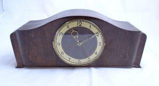Tolle Alte Tischuhr Kaminuhr Standuhr Buffet Uhr Dunkelbraun Wohl Um 1950 Bild