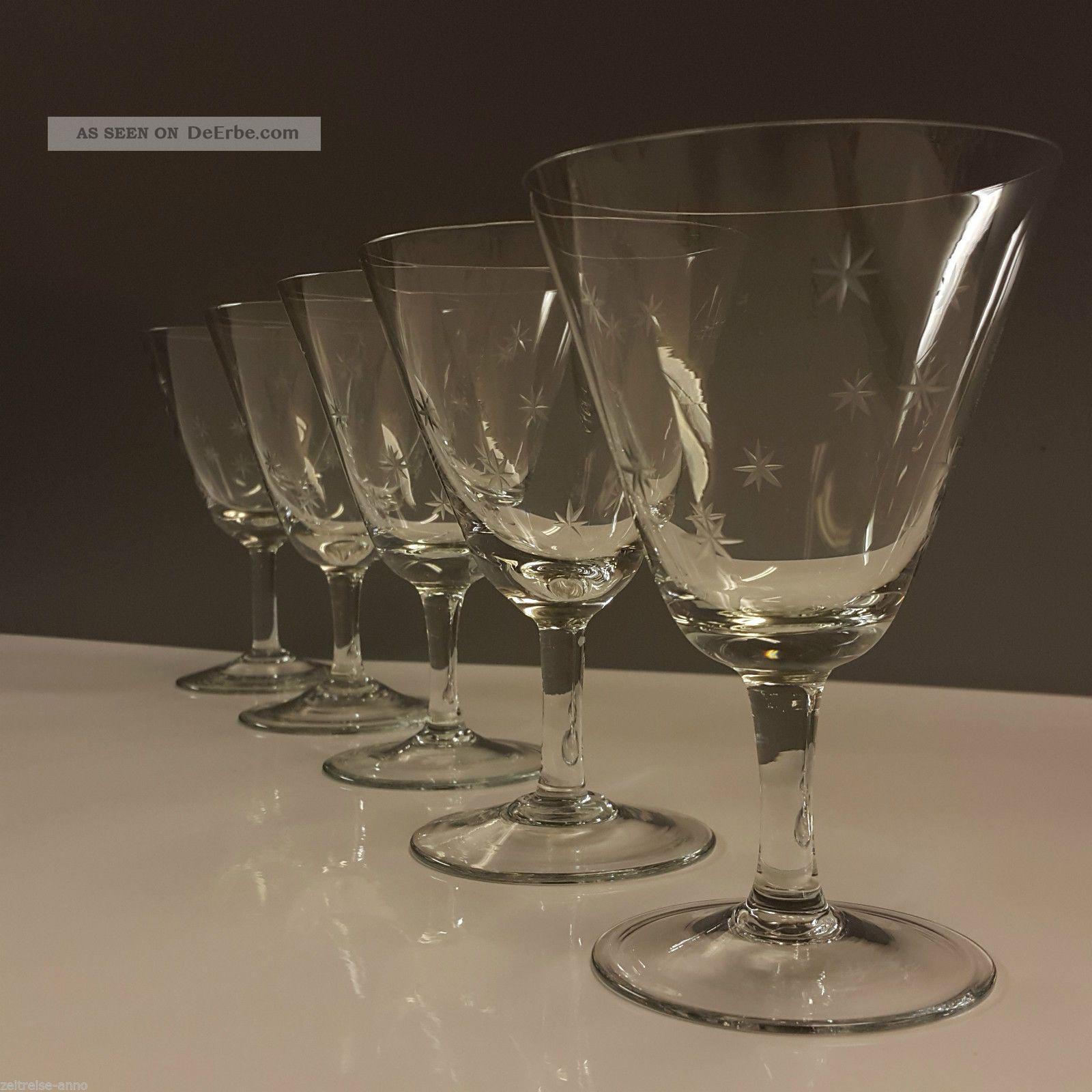 5 Alte Kristall Weingläser Dünnwandig Feiner Sternchenschliff Sterne Gravour Kristall Bild
