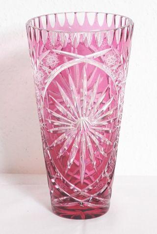 Wunderschöne Große Lausitzer Glas Überfang - Glas Vase Rot Kristallglas Vase Bild