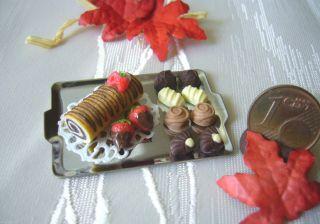 =1 GebÄckzange Konfektzange Metall= Miniatur Puppenstube Bäckerei 1:12 Byhw Bild