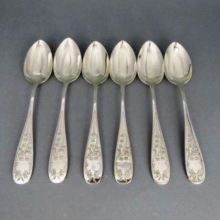 6 Dessertlöffel Maiglöckchen Gravur Silber Bild