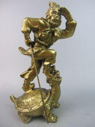 24cm Hohe Schöne Kostbare Messing Skulptur,  Des Rebellischen Affenkönigs.  China Bild
