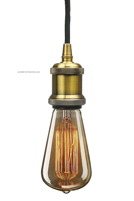 Retro Vintage Aged Messing Pendeleuchte Hängeleuchte Mit Leuchtmittel 1890-1919, Jugendstil Bild