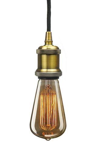 Retro Vintage Aged Messing Pendeleuchte Hängeleuchte Mit Leuchtmittel Bild