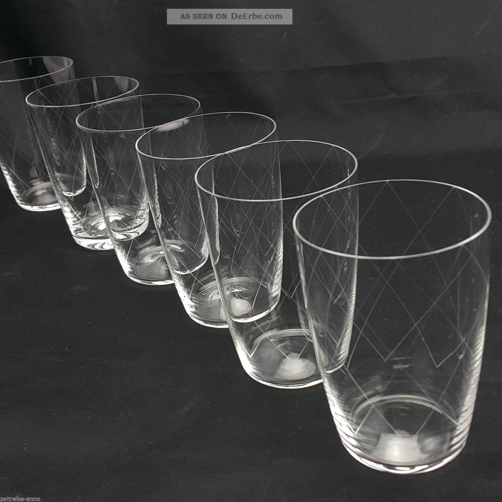 6 Wassergläser Saftgläser Kristall Gral Glashütte Feiner Rautenschliff Kristall Bild