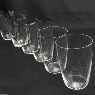 6 Wassergläser Saftgläser Kristall Gral Glashütte Feiner Rautenschliff Bild