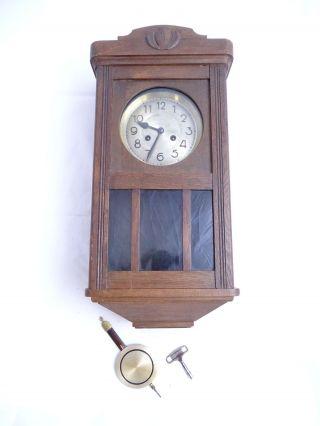 Antike Art Déco Wanduhr Holz Pendel Schlüssel Adler Gong Pendeluhr Bild