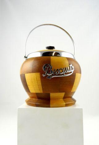 Seltene Art Deco Keks Dose England Chrom & Edelholz Bild