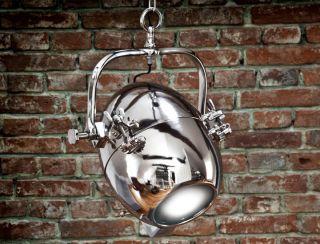 Industriedesign Hängeleuchte Nickel Chrom Lampe Leuchte Scheinwerferlampe Loft Bild