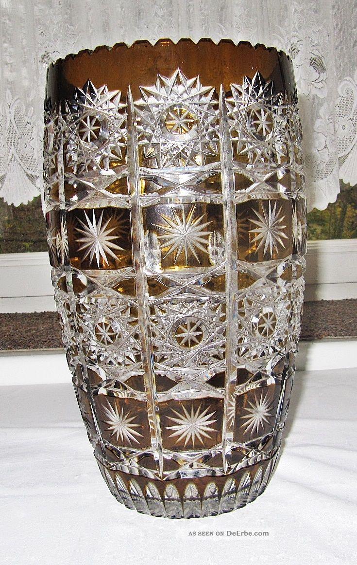 Große Bleikristall Vase Mundgeblasen - Handgeschliffen Bernstein Sammlerstück Kristall Bild