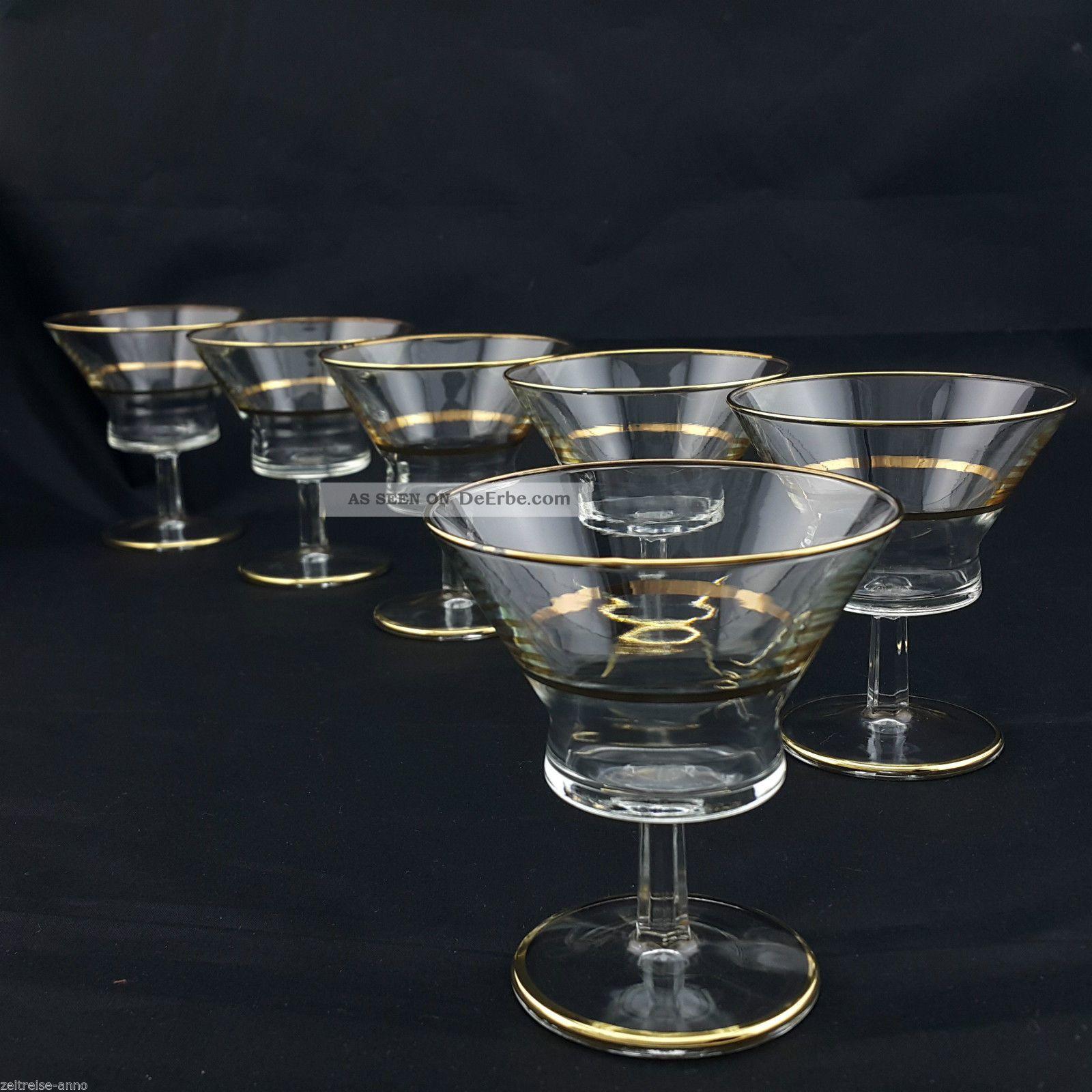 6 Seltene Vintage Aperitifgläser Likörgläser Kristall Goldrand Sehr Edel Ø8,  5 Kristall Bild