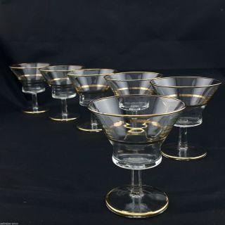 6 Seltene Vintage Aperitifgläser Likörgläser Kristall Goldrand Sehr Edel Ø8,  5 Bild