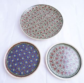 3 Antike Orientalische Teller,  Große Anbietschalen Aus Keramik - Fajance Bild