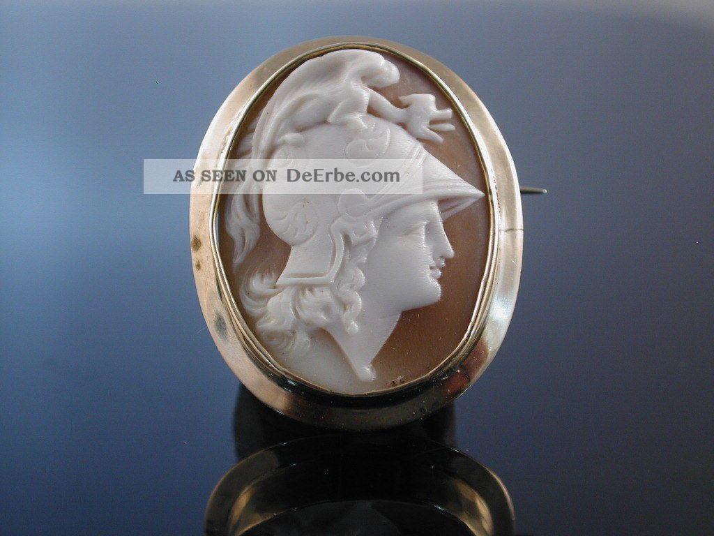 Antike Muschel Gemmen Brosche Kamee Gold England Um 1850 Perseus Cameo Brooch Schmuck nach Epochen Bild