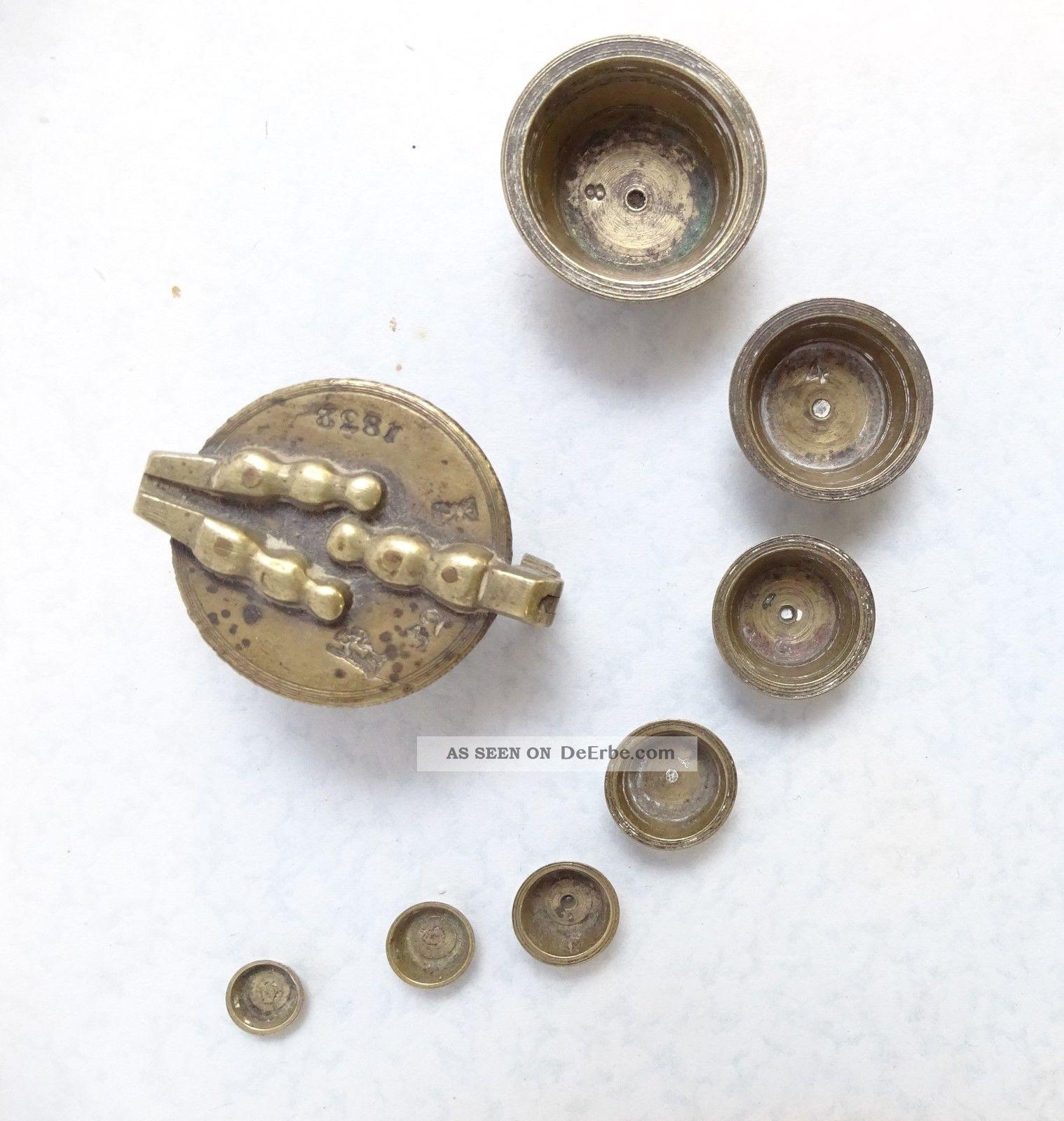 Antikes Biedermeier Bechergewicht Gewicht 1832 Mehrfach Punziert Gewichtssatz Kaufleute & Krämer Bild