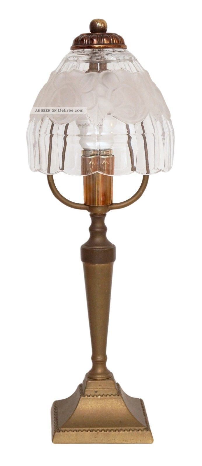 zierliche jugendstil tischlampe nachttischleuchte messing 1920 rosen. Black Bedroom Furniture Sets. Home Design Ideas