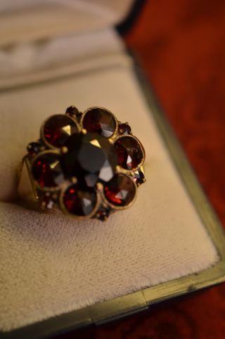 Schöner Alter Massiver Granat Damenring Gold 585 Bild