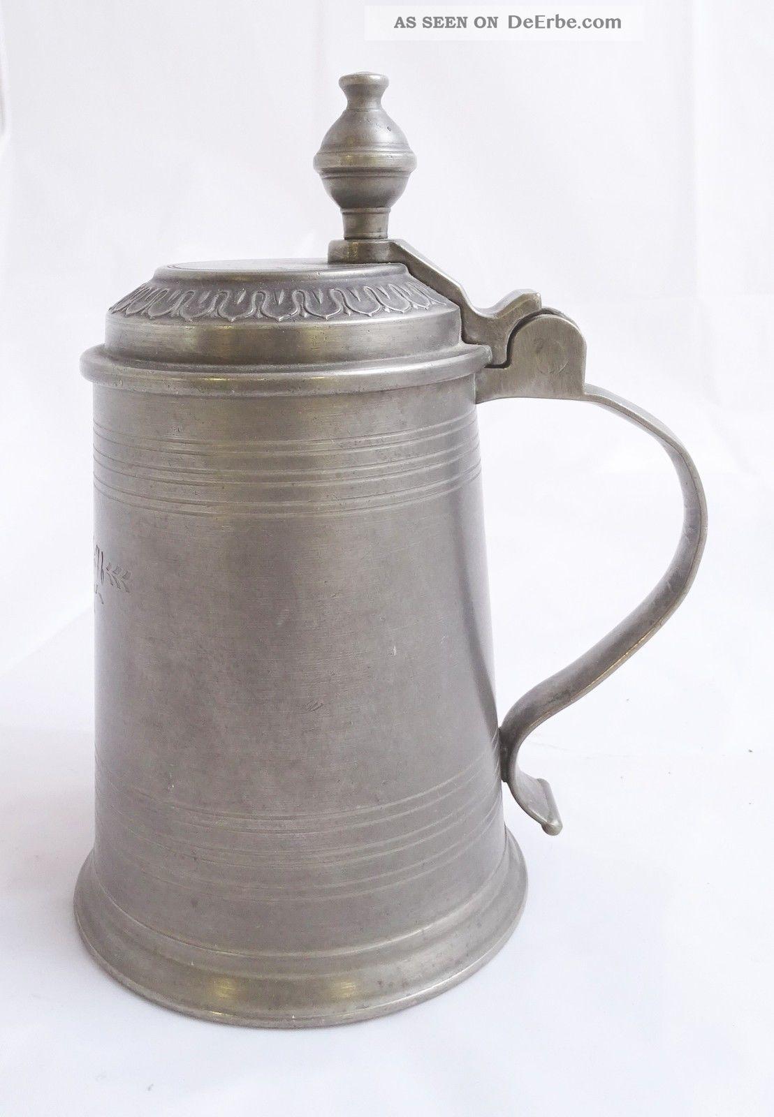 Antiker Zinnkrug Zunftkrug Humpen Mit Deckel Montur 1776 Zinn Bild