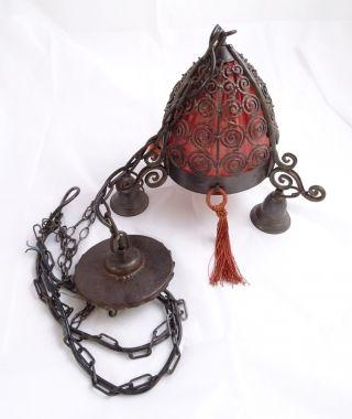 Herrliche Antike Vintage Hängelampe Aus Metall - Antike Rarität Bild
