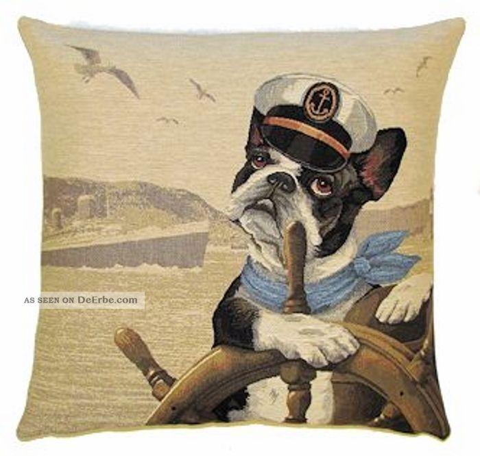 Gobelin Kissen Boston Terrier Ahoi Dekokissen Incl Füllung Hund Maritim Maritime Dekoration Bild