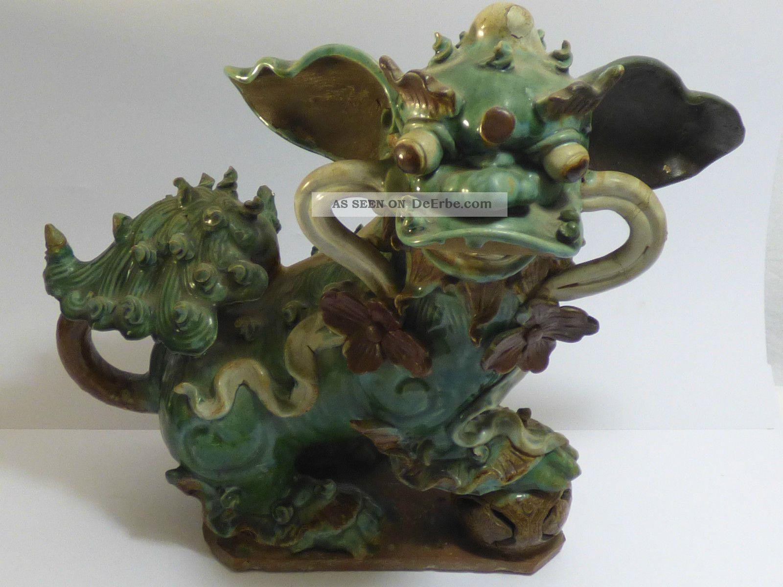 Chinesischer Tempelhund Ming - Stil Keramik Teilweise Grün Glasiert Um 1900 Asiatika: China Bild