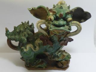Chinesischer Tempelhund Ming - Stil Keramik Teilweise Grün Glasiert Um 1900 Bild