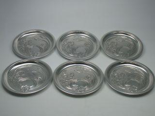 Otto Wolter 6 Wunderschön Verzierte Massive Untersetzer Aus 925 Sterling Silber Bild