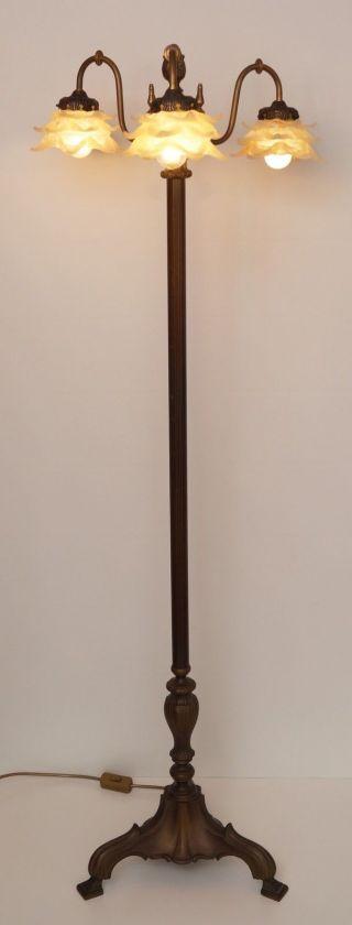Einzigartige Dreiflammige Orig.  Jugendstil Stehlampe 142 Cm Bronze Stehleuchte Bild