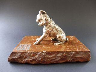 Jugendstil Terrier Bronze Paperweight Dog Hund Art Nouveau Briefbeschwerer Stone Bild