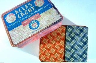 Altes Kartenspiel Gesellschaftsspiel Schmid Alles Lacht 60er Jahre Frage Antwort Bild