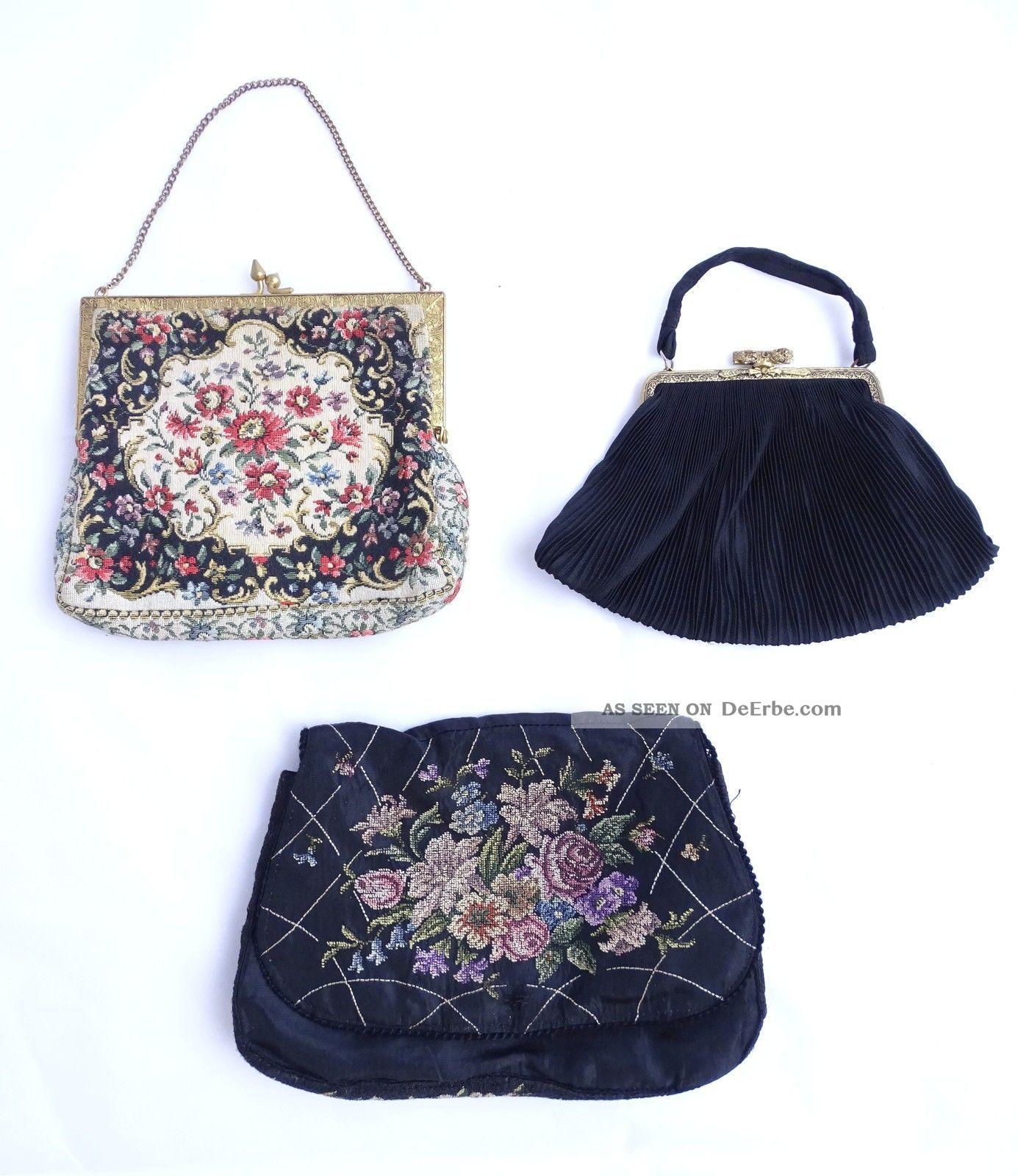 3 Herrliche Alte Abendtaschen Handtaschen Damen Taschen Vor 1950 1920-1949, Art Déco Bild